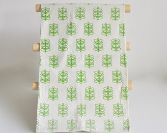 Flour Sack Tea Towel, Green Stems Fern Print, Natural Cotton Green Screen Printed Towel
