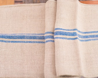 tela sacos Blue stripe Fabric Antique linen Grain Sack from Europe yachting pillow rural decoration pillow benchcushion wedding tablerunner