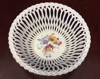 Vintage Porcelain Hand Painted Bowl - Made in Romania