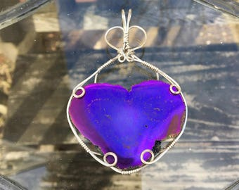 Heart Shaped Aura Stalactite - Wire Wrapped Pendant - Argentium Silver