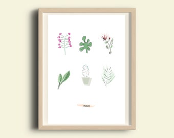 Minimalist botanical print - Printable art, Modern plants wall art print, nature prints, botanical art, illustration print, decor, A3 print