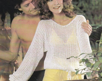 Womens beach cover up vintage crochet pattern crocheted top cover up summer top beach pdf INSTANT download pattern only
