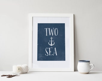 Two If By Sea 8x10 Instant Download, Nautical Printable Art, Nautical Art Print, Anchor Print, Beach Cottage Decor, Nautical Nursery Decor