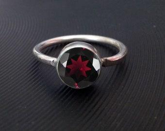 Garnet Silver Ring, sterling silver Ring, Handmade  Silver  Ring