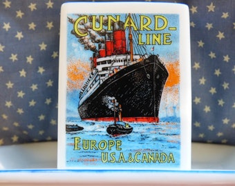 Vintage Cunard Line - Europe USA & Canada - Luxe Cruising Souvenir - Smokers Accoutrement - Matches Holder - Vintage Tobacianna - Wanderlust