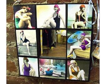 1920s bathing beauty mirror retro pin up girl flapper wall mirror vintage beach kitsch