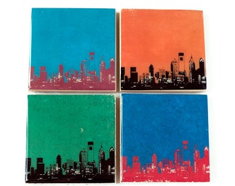 Philadelphia Skyline Sports Coaster Set (4 Stone Coasters) Philly Cityscape Home Decor - Father's Day Gift