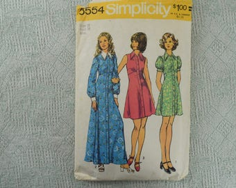 Simplicity Sewing Pattern 5554 dress from 1973 size 16