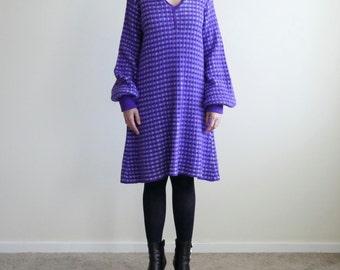 Purple Bouffant Sleeve Chunky Knit Dress