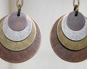Boho Earrings Bohemian Earrings Mixed Metal Earrings Dangle Drop Earrings Boho jewelry Bohemian Jewelry Copper Silver Brass Gift For Her