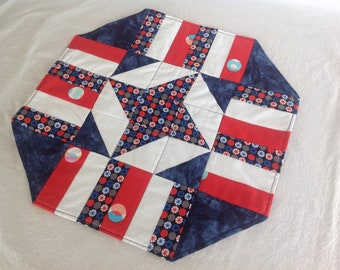Easy patriotic table topper, instructions, fabric show your red, white, and blue