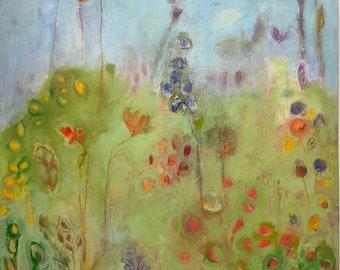 oil painting floral on paper expressionist flower garden 2 original unframed