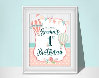 Hot Air Balloon Birthday Sign | Pink | Birthday Sign | Printable | BR009W