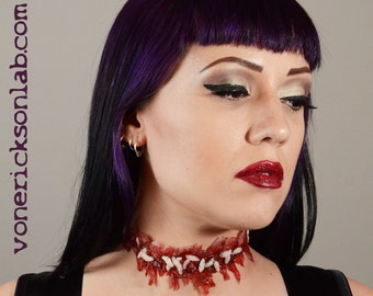 halloween zombie instant costume jewelry creepy scary prosthetic special effects slit throat choker zombie costume