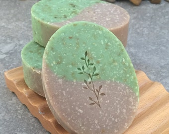 Sandalwood Patchouli Scented Handcrafted Oval Soap Bar with Silk