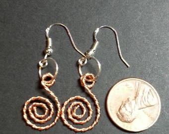 Twisted Copper swirl Earrings with Sterling Silver