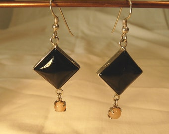 Sterling Silver Earrings With Black Onyx and Moonstone