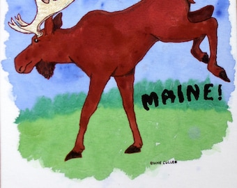 Maine Moose hand-painted T-shirt