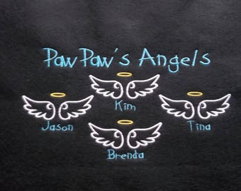 Personalized Embroidered Grandparent Shirt - Paw Paw's Angels Crew Neck Sweatshirt - Plus Size Embroidered Shirt - Grandkids Names Added