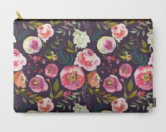 Dark Floral Clutch Floral Makeup Bag Floral Pencil Case Pouch Charcoal Clutch Floral Print Clutch Gifts