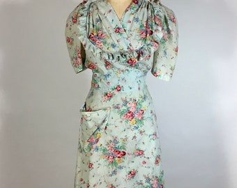 Vintage 1930's -1940's WEARABLE pale blue thin cotton floral wrap DRESS w/ruffle trim neckline detail & pouf sleeves