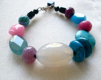 Multicolor Stone Statement Chunky Bracelet