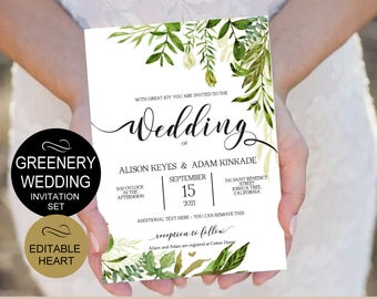 Rustic Wedding Invitation Template 5 PIECE - Greenery Wedding Invitation Set Templates - DIY PDF- Download Instantly | VRD150WDK