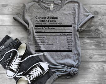 Cancer Zodiac Nutrition Facts Unisex Tee Women's Clothing Women's Tee Men's Clothing Men's Tee Astrology Zodiac Signs Birthday Tees