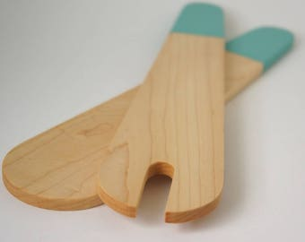 Modern Wood Salad Server - Turquoise Hand Dipped Salad Tong Maple