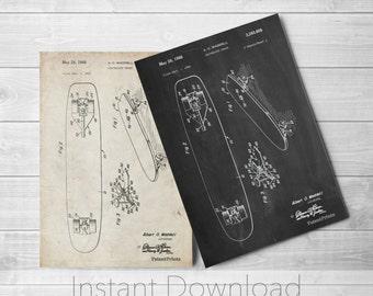Skateboard Printables, Skater Art, Skateboard Decor, Vintage Skateboard PP0492