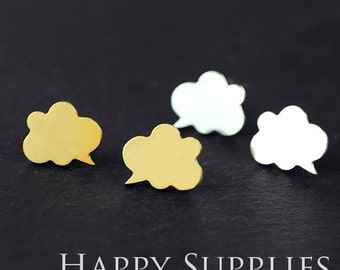 Nickel Free - High Quality Cloud Dialog Dual-used Golden / Silver /Rose Gold Brass Earring Post Finding with Ear Studs Back Stopper (ZEN033)