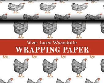 Chicken Silver Laced Wyandotte Wrapping Paper Two Sizes Available For Wrapping Holiday Xmas Gifts