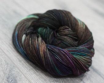 Canadian Hand-dyed sock yarn. 70/20/10 SW Merino/Cashmere/Nylon. 115g 400 yards. Ready To Ship. Terokkar, multi-colored green purple yarn