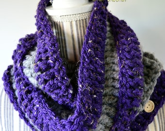 Cowl, chunky cowl, chunky crochet cowl, purple cowl, gray cowl, doubled round cowl, neck warmer, men's cowl, women's cowl, ready to ship