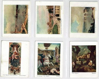 British Cigarette Card Set (12 Cards) - Italian Art Exposition 1930 . Issued 1931 by Churchman Cigarettes. Pictures of Famous Painings