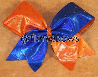 Orange and Blue Rhinestone Tick Tock Bow