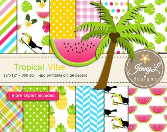 Tropical Summer Digital Paper and Clipart, Toucan, Flamingo, Hibiscus, Watermelon, Luau Party Wedding, Bridal Baby Shower, Birthday,