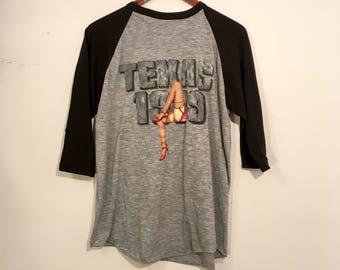 Vintage 80's Bon Jovi Tour Shirt Raglan Concert Austin Texas Large