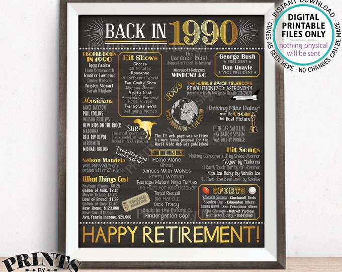 """Retirement Gift, 1990 Flashback Back in 1990 Started Job in 1990, Retired 28 Years, Gold, PRINTABLE 8x10/16x20"""" Chalkboard Style Sign <ID>"""