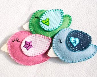 Bird felt ornament, set of 3, pink, white, green, handmade, Birthday gift, home decor, Easter, Spring decoration