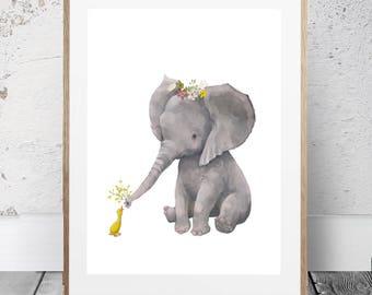 Elephant Safari nursery art, Baby Elephant print, PRINTABLE art, Safari animals wall art, Baby elephant, Nursery wall art, Baby Girl Room