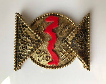 Vintage 1930s large surrealist gilt metal and plastic buckle - red and gold
