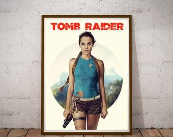 Tomb Raider poster Lara Croft, gift for mom, Gift for her gift for him, lara croft poster, Alicia Vikander, tomb raider art lara croft print