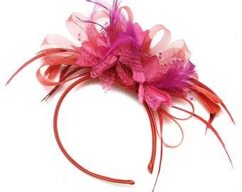 Scarlet Red & Fuchsia Pink Fascinator on Headband