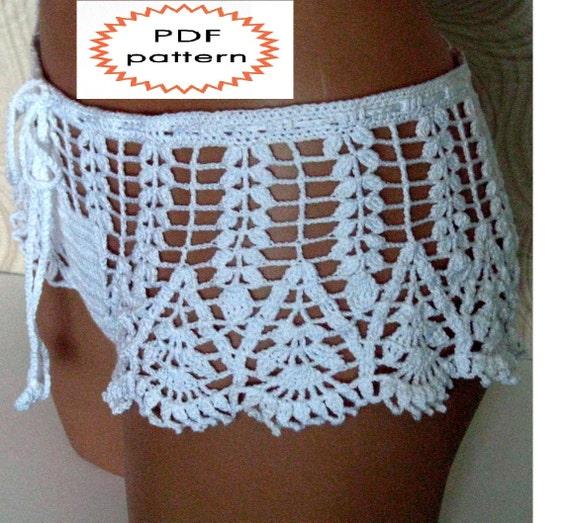 Pattern Crochet White Beach Shorts Shorts For Summer Pattern Beach