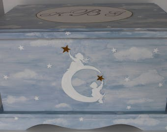 Baby Keepsake Box Baby keepsake chest Catch a Falling Star memory box personalized baby shower gift hand painted moon stars twins siblings
