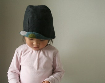 mobi spot LINEN HAT / dots / summer hat / girl / boy / children / toddler / modern designer hat / eco / indigo / australia / pamelatang