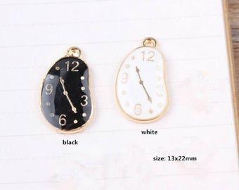10PCS, 13x22MM, Clock Charm, Enamel Charm, Time Charm, Bracelet Charms, Jewelry Accessories,Gold Tone