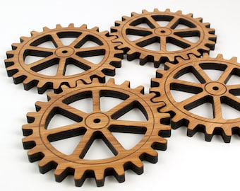 Gear Coasters Industrial Gift Set Wooden Gears Bamboo