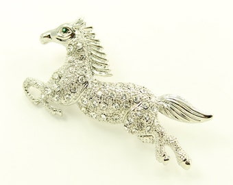Horse Brooch, Silver Rhinestone Horse Jewelry Component, Horse Broach, Pegasus DIY Craft Project Embellishment